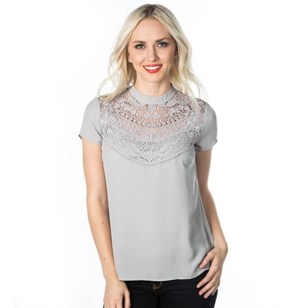 DownEast Basics Women's Lace Detail Spring Fantasy Blouse