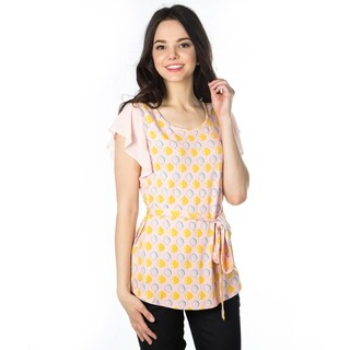 DownEast Basics Women's Printed Flutter Sleeve Tunic