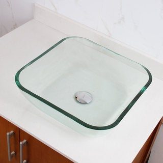 ELITE 1501 Transparent Square Tempered Glass Bathroom Vessel Sink