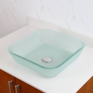 ELITE 1502 Frosted Square Tempered Glass Bathroom Vessel Sink