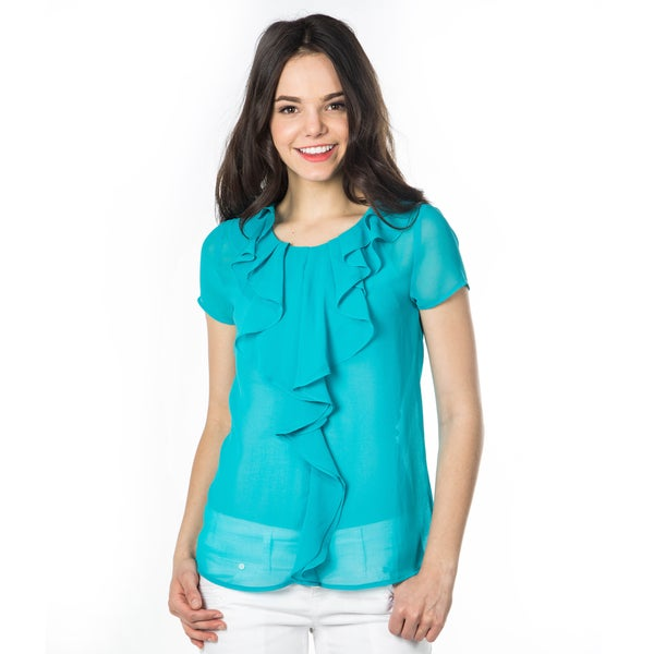 DownEast Basics Women's Ruffle Cascade Dream Blouse