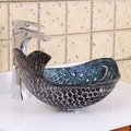 Elite Pacific Whale Pattern Tempered Glass Bathroom Vessel Sink