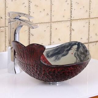 Elite Mermaid IVY Tempered Glass Bathroom Vessel Sink