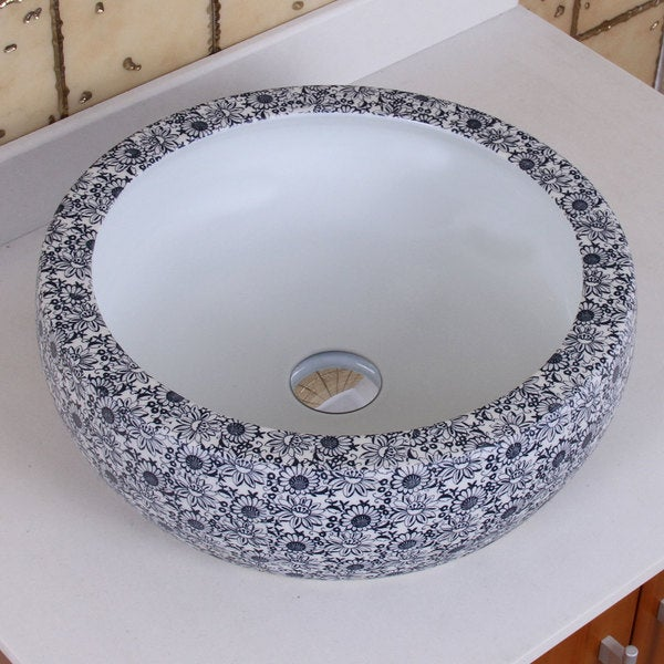 Blue And White Vessel Sink : ... Chrysanthemum Blue and White Porcelain Ceramic Bathroom Vessel Sink