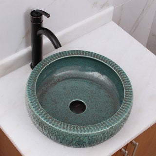 ELIMAX'S 2001 Jade Rock Pattern Porcelain Ceramic Bathroom Vessel Sink