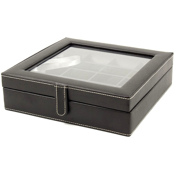 Bey Berk 'Francis' Leather 20 Cufflink Storage Box