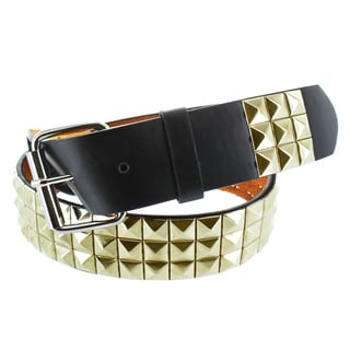Faddism Men's Genuine Leather Gold Pyramid Studded Belt