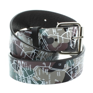 Faddism Women's Genuine Leather Map Screen Printed Belt