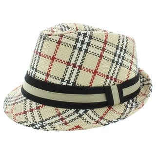 Faddism Fashion Plaid Fedora Hat in Multicolor