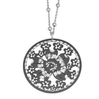 Fremada Rhodium Plated Sterling Silver Cut-out Flower Pendant on Adjustable Station Bead Necklace