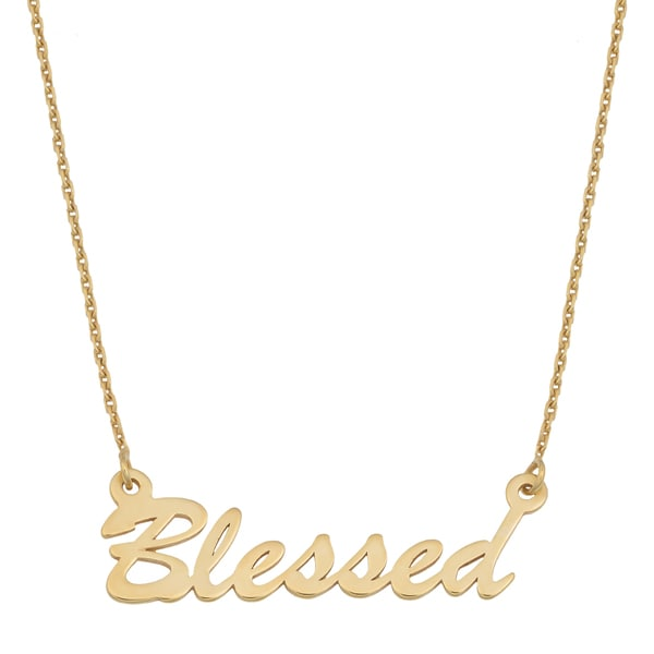 Fremada 14k Yellow Gold High Polished Finish Adjustable Blessed Necklace (18 inches)