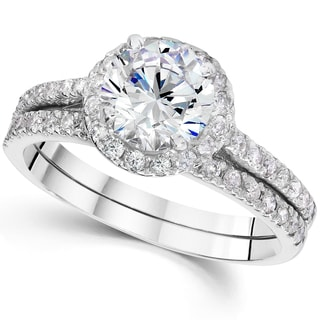 14k White Gold 2 4/5ct TDW Clarity Enhanced Diamond Halo Engagement Wedding Ring Set (I-J, I2-I3)