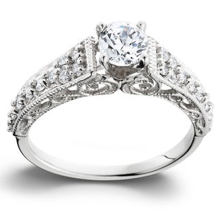 14k White Gold 3/5TDW Vintage Diamond Engagement Ring (I-J, I2-I3)