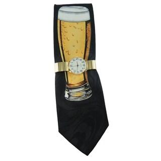 Men's Watch and Novelty Tie Gift Set Gold Stretch Band Watch with Steven Harris Beer Mug Necktie Gift Set