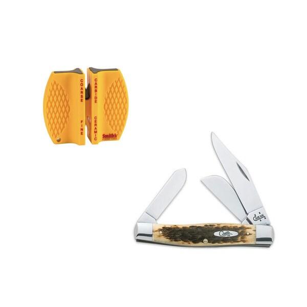 Case Cutlery Amber Bone CV Large Stockman Knife with Sharpener
