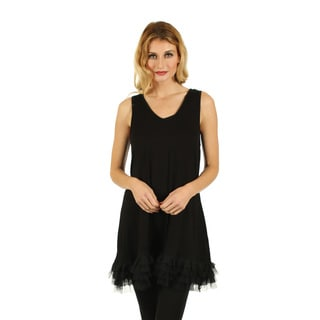 Women's Sleeveless Black Ruffle Hem Top