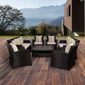Atlantic Glacier 8-piece Black Synthetic Wicker Seating Set with Light Grey Cushions