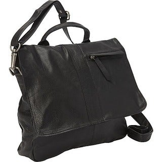 Black Soft Leather Cross Body Messenger Bag