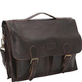 Sharo Black Distressed Leather 15-inch Laptop Messenger Brief