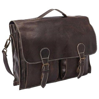 Sharo Dark Brown with White Contrast stitching Soft Distressed Leather 15-inch Laptop Messenger