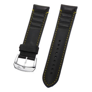 Stuhrling Original Men's Black Leather Strap With Yellow Stitching
