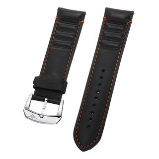 Stuhrling Original Men's Black Leather Strap With Two-tone Orange Stitching