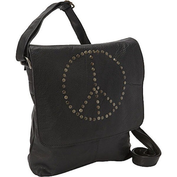 Sharo Peace Sign Leather Cross Body bag