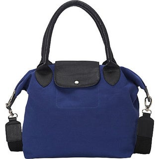 Deleite Canvas Leather Handbag with Attachable Shoulder Strap