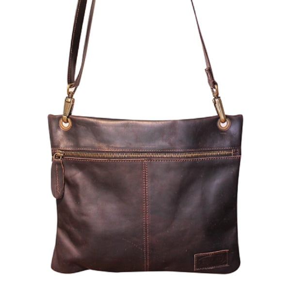 Sharo Dark Brown Soft Leather Cross Body Bag