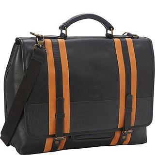 Deleite Women's Black Leather Striped Laptop Computer Office Brief/ Messenger Bag