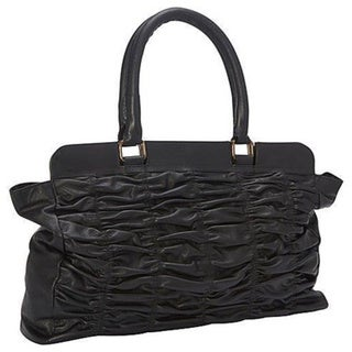 SHARO Black Genuine Leather Quilted Handbag