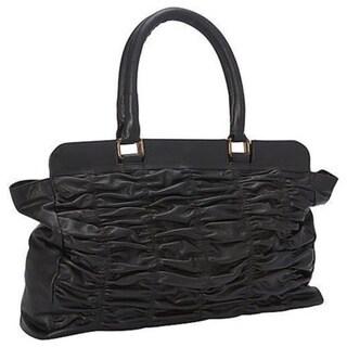 SHARO Black Genuine Leather Quilted Handbag