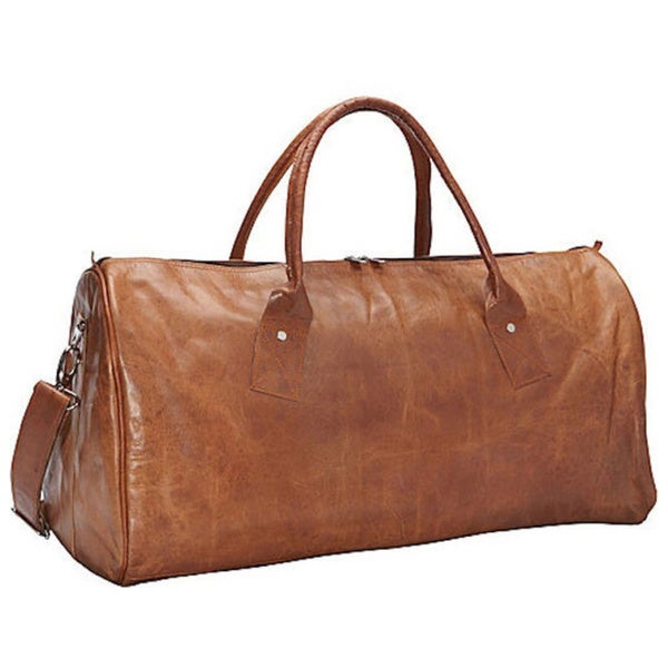 Sharo Brown Leather Duffle Bag