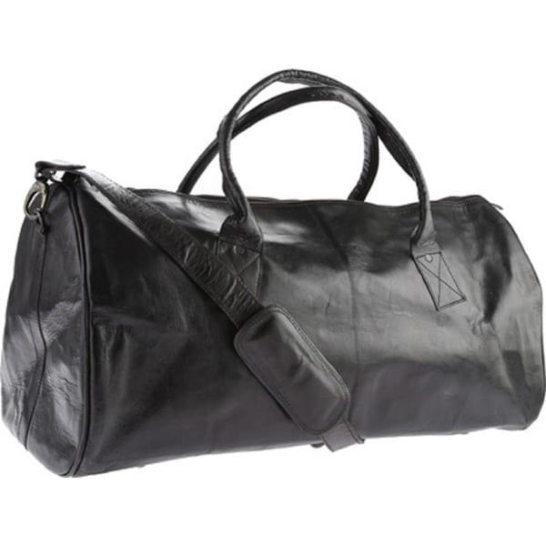 Sharo Black Leather Duffle Bag