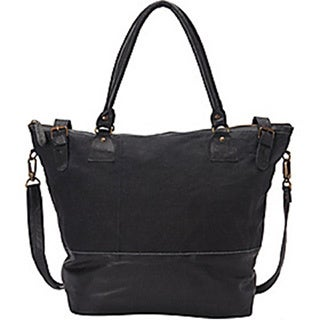 Sharo Large Canvas/ Leather Tote