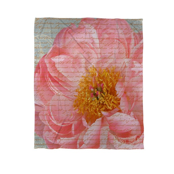 Thumbprintz Pink Rose Cursive Coral Fleece Throw