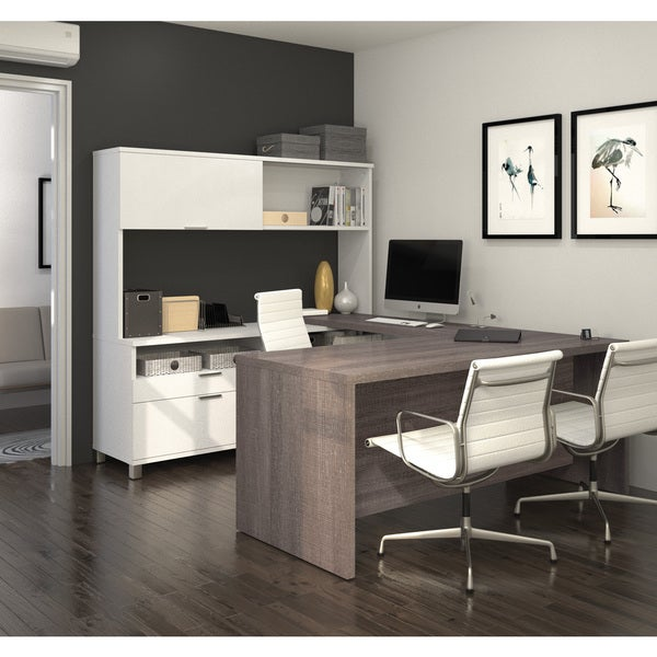 Bestar Pro Linea U Desk With Hutch 17205826 Overstock