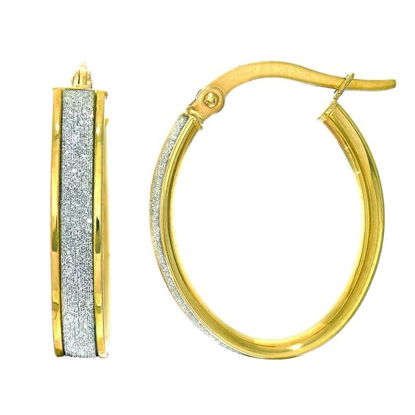 14k Yellow Gold 3.75 x 14 x 17mm Oval Hoop Earrings with Glitter Accent
