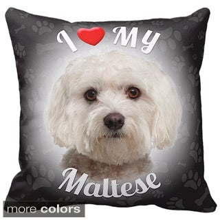 I Love My Maltese Throw Pillow