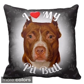 'I Love My Pit Bull' Throw Pillow