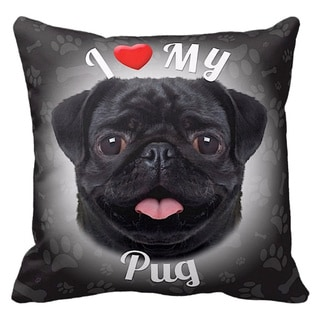 I Love My Pug Throw Pillow