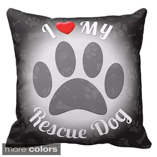 I Love My Rescue Dog Throw Pillow