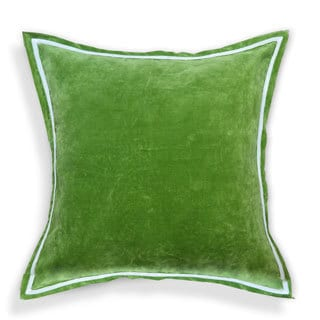 Hand-crafted Solid Velvet Designer 20-inch Throw Pillows with White Piping