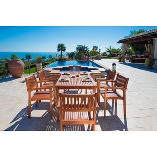 Malibu Eco-Friendly 7-piece Eucalyptus Wood Stacked-chair Outdoor Dining Set