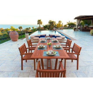 Malibu Eco-friendly 7-piece Wood Extendable Outdoor Dining Set