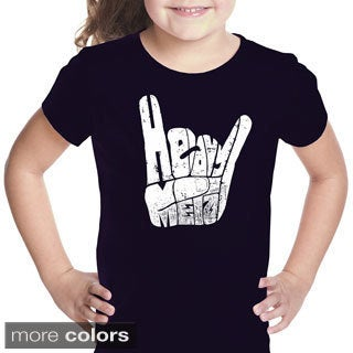 LA Pop Art Girls Heavy Metal Fingers T-Shirt