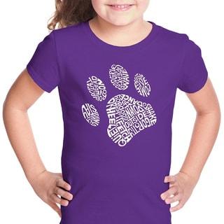 LA Pop Art Girls Dog Paw T-Shirt