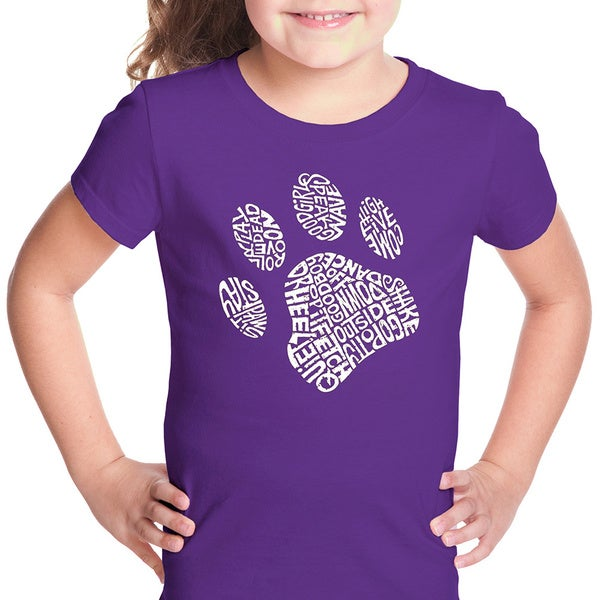 LA Pop Art Girls Dog Paw T-Shirt
