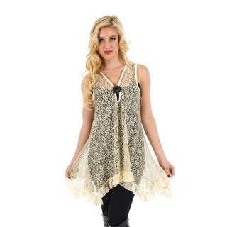 Women's Sleeveless Gold Top with Lace Sidetails