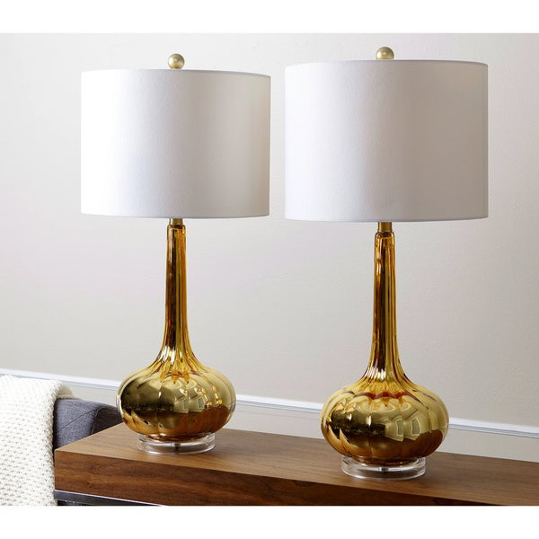abbyson living gold mercury antiqued glass table lamp set of 2. Black Bedroom Furniture Sets. Home Design Ideas